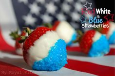 Red, White, and Blue Strawberries. Fireworks won't be the only thing making people say ooo and aww at the picnic!