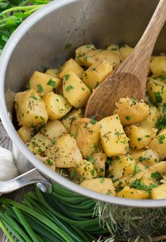 Herbed Boiled Potatoes - Fresh herbs and tender potatoes come together in a simple, quick side dish that is perfect for any family dinner!