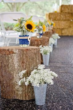 Outdoor Country Wedding Ceremony Decor of Sunflowers and Baby's Breath