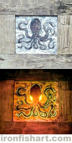 Octopus Wall Art Light by THE IRON FISH: http://ironfishart.com Beautiful textured steel canvases with tiny torch cuts hidden in the subject by day is illuminated to become coastal lighting by night. Design requests? Email chase@ironfishart.com