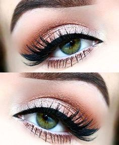 Peaches and Cream eye makeup look. List of makeup products, makeup hacks, Makeup for brown eyes, blue eyes, green eyes and all skin and hair colours. Highlights your eyes. Eye makeup tutorial for smokey eyes, nude lip with wing eyeliner.