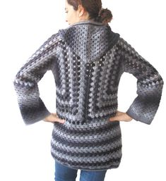 NEW Crochet Cardigan by Afra Black Grey van afra op Etsy