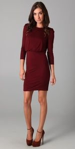 Great garnet dress.  Too bad it's not just a little bit longer.