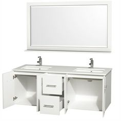 "Centra 60"" Double Bathroom Vanity Set by Wyndham Collection - White 