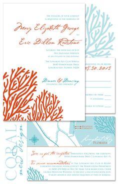 Coral Wedding Invitation - Beach Wedding Invite