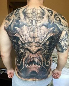 horrible monster image on back