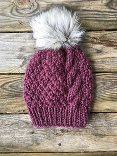 The Ainsley Twisted Moss Beanie Pattern PDF Digital File Knitting Pattern Baby Hats Knitting, Loom Knitting, Knitting Patterns Free, Knitted Hats, Crochet Patterns, Hat Patterns, Cable Knit Hat, Knit Mittens, Knitting Projects