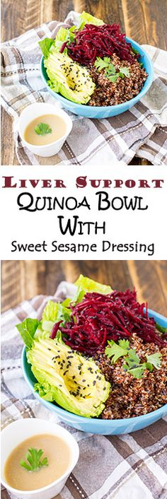 Delicious vegan, gluten-free Quinoa bowl with sweet sesame dressing.