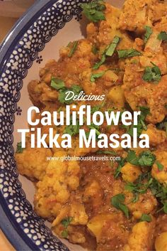 This creamy, spicy Cauliflower Tikka Masala is easy to make and is the perfect mid week meal. It's easy to put together and something the whole family can enjoy. Vegan, Vegetarian, gluten free, dairy free and full of flavour. Check out our recipe here. Cauliflower Tikka Masala - copyright: www.globalmousetravels.com