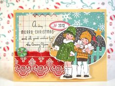 Nicole Harper also altered one of the Make it Merry Postcards for this gorgeous card