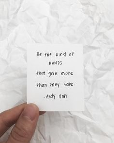 Be the kind of hands