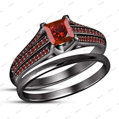 925 Silver 2.00 Ct Princess & Rd Cut Red Garnet Bridal Set in 14Kt Black Gold FN #BridalEngagementRingSet