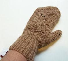 Owl Mittens Hand Knit Wool Mittens for Women in by StichesInTime, $27.00