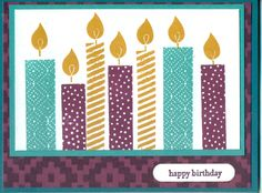 Cased from Melinda Pierce (Rubber Room): Using new Bohemian DSP and Build a B'day stamp set.