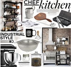 """""""Chef's Kitchen V - Industrial Style"""" by bellamarie on Polyvore"""