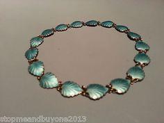 Vintage Finn Jensen Norway Sterling Silver Blue Guilloche Enamel Leaf Necklace