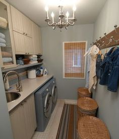 Sarah Richardson Design Simple Laundry Room with Style- definitely need a drink in the laundry room.also really like the idea of a big counter.need more room for hang dry stuff though White Laundry Rooms, Small Laundry, Laundry In Bathroom, Small Sink, Laundry Room Storage, Laundry Hamper, Laundry Room Design, Laundry Area, Casa Park