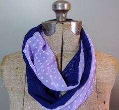 Purple vintage lace infinity scarf with polka dots by PaleDesign, $29.00