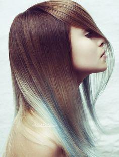 pale blue dip-dye