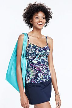Women's Beach Living Paisley Adjustable Scoop Tankini Top from Lands' End
