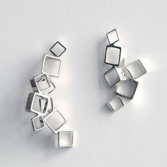 Medium Square earrings in Ethical sourced Sterling silver by Anna Häggström at SMID/Stockholm.