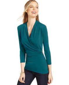 Charter Club Crossover Wrap Top, Only at Macy's | macys.com