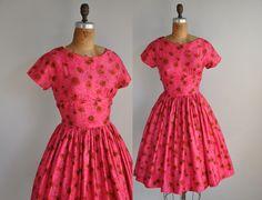 50s dress // vintage 1950s dress // Designer Jonathan Logan full skirt cotton dress. $214.00, via Etsy.