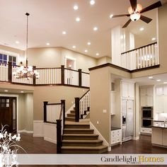 www.CandlelightHomes.com, Utah, Homes, Homebuilder, Home, Staircase, Railing, Lighting, Interior lights, Ceiling fan, Chandelier, Wood Floor, Wooden Floors, Great Room, Front Entry