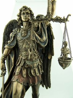 Huge Bronze Saint St Michael Statue Scales of Justice Patron of Police | eBay