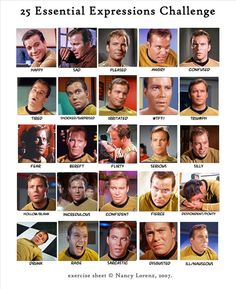 Some of the many faces of Captain Kirk.