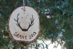Wood Burned Christmas Ornament - Custom Name - 2013 - Antlers - Perfect Gift for Friends n Family - Rustic Wood - Baby's First