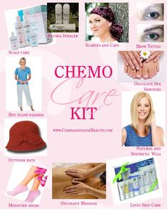 Chemo Care Kit for a loved one going through treatment. Great solutions for hair loss, hot flashes, skin concerns, and more. Hair Loss Treatment, Cancer Treatment, Cancer Care Package, I Hate Cancer, Hair Cure, Chemo Care, Gifts For Cancer Patients, Hot Flashes, Products
