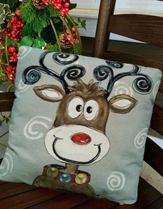 Whimsical Reindeer Christmas Pillows Holiday by SippingIcedTea