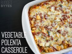 Vegetable Polenta Casserole - Budget Bytes - vegetarian with the cheese and vegan without ;)