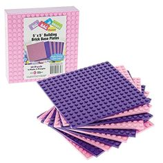 """Brick Building Base Plates By SCS - Small 5""""x5"""" Pink and Purple Friends-Inspired Baseplates (10 Pack) - Tight Fit with Lego SCS Direct http://www.amazon.com/dp/B00V90CNC8/ref=cm_sw_r_pi_dp_Bu20vb09290TQ"""