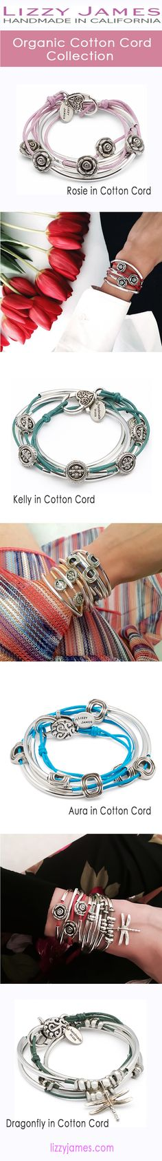Lizzy James Jewelry presents the NEW organic cotton cord collection of wrap bracelets, that can also be worn as necklaces.  Designed with colorful organic braided cotton cord.  Handmade in the USA. #LizzyJamesInc