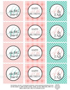 40 & FAB! Fresh & Lovely Coral Pink & Aqua designs for a 40th Birthday!  Print at home! 40th Birthday Cupcake Toppers, Sticker Labels