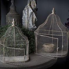 Melrose Set of 2 Delicate Fine Chicken Wire Decorative Bird Cage ...