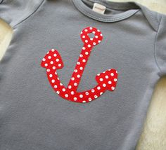 Nautical Baby Boy Clothes // Anchor Bodysuit // Size 3-6 months // Red Polka Dot Anchor Applique Gray Bodysuit