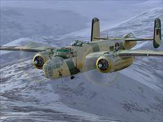 B 25:  - Fabricante: Mitchell  - País: EUA  * Era um avião bastante confiável, ficando bastante famoso depois da operação Doolittle, que foram os primeiros bombardeamentos no Japão continental durante a Segunda Guerra Mundial.