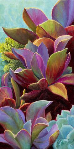"""Succulent Jewels"", Sandi Whetzel - LOVE the colors on this painting."