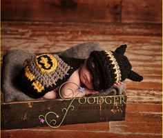 Crochet Baby Batman. This would totally be fine on a girl.