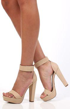 b158cda573c Ankle Strap Block Heel in Bone