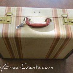Large striped suitcase with cream interior for rent Wedding Events, Weddings, Suitcase, Shower, Cream, Interior, Rain Shower Heads, Creme Caramel, Indoor