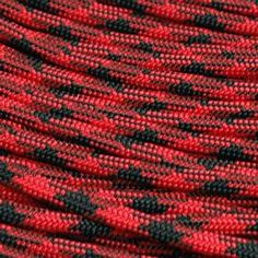 Black and Red Paracord 550 lb 100'