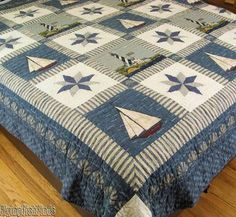 Warren Kimble Nautical Lighthouse Sailboat Blue King Quilt