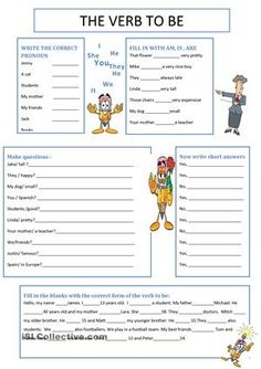 There are 5 exercises about the verb to be - ESL worksheets