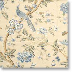 Elinors Chinese Blue Cream Fabric