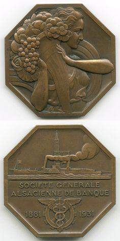Pierre Turin : Fortuna / Société générale alsacienne de banque 1881 - 1931. Bronze, 7.1 × 7.1 cm