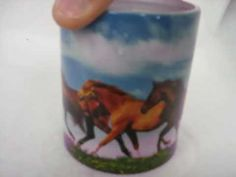 """Color changing coffee mug with a picture of four horses running across an open field with a brilliant blue sky in the background. The mug starts out as a dark color, add a warm beverage into it and the image of the 4 horses running appears on the mug! Available at Amazon.com, see this and others for sale by going to amazon.com put """"teranew"""" in t..."""